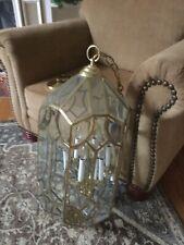 6 Light Beveled Glass and Brass Foyer Chandelier