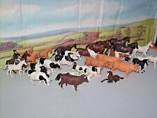 job lot of BRITAINS FARM PLASTIC COWS BULLS HORSES 1/32 scale AS SEEN X30