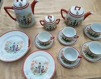 Vintage Asian Hand Painted Porcelain Tea & Coffee Set Japan Geisha Set of 21
