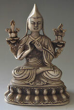 Collectible Decorated Silver Plate Copper Carved Tibet Buddha Statue