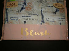 New Blush Design 4 Pc Twin Sheet Set Paris Eiffel Tower Floral Butterfly Amour