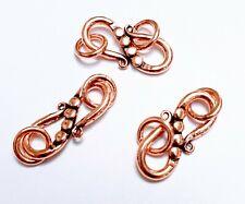 3 pretty pure copper  S clasps -  necklace/ bracelet clasps 23 mm