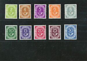 Posthorn 2 bis 30 Pfennig Mi. Nr. 123 bis 132 postfrisch