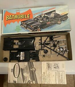1966 Aurora Batmobile #486-98 Model Kit started incomplete; Mint box