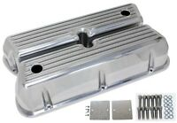 ALUMINUM 1962-85 FORD SB 289-302-351W 5.0 TALL VALVE COVERS FINNED - POLISHED