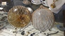"""2 Vintage Antique Authentic Glass Fishing Floats w/ Netting 5"""" Frosted & Amber"""