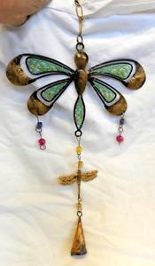 Dragonfly Mobile / Windchimes - Brass Glass and Beads - Very Pretty - BNIB