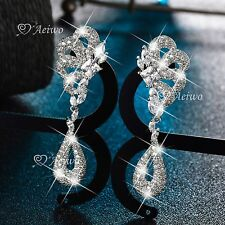18K WHITE GOLD FILLED SIMULATED DIAMOND WEDDING PARTY STUD LUXURY EARRINGS