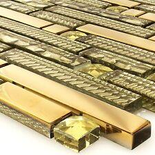 Glas Strukturmix Gold Mosaik Fliesen | Bad WC Wand Küchenspiegel Bordüre Küche