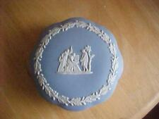 "Wedgwood Blue Jasperware 5"" Trinket Scalloped Powder Box w/ Lid"