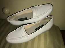 EASY SPIRIT Sz 9 1/2 A A White Leather Penny Loafers Flats Shoes Ebc-20