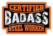 Badass Steel Worker Hard Hat Sticker | Decal Motorcycle Helmet Label Bad Ass