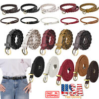 Womens Casual Braided Leather Belt Skinny Thin Buckle Elastic Stretch Waist Belt