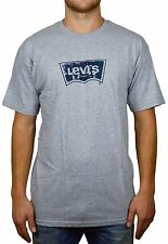 NEW LEVI'S AUTHENTIC MEN'S BATWING T-SHIRT HOUSE MARK GREY-NAVY LARGE