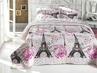 Paris Bedding Eiffel Tower Themed Full/Queen Size Bedspread/Coverlet Set 3 Pcs