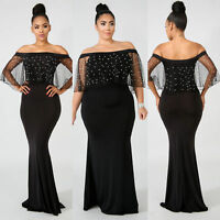 Womens Plus Size Dress Evening Cocktail Prom Skirt Off Shoulder Bodycon Clothing