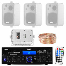 "PDA6BU Bluetooth USB Receiver, 4"" White Box Speakers, 18 Gauge 50FT Speaker Wire"
