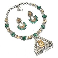 Indian Ethnic Ganesh Necklace Set With Earrings Silver Two Tone Festival Jewelry