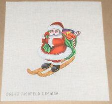 """Rishfeld Designs Christmas """"Santa on Skiis"""" Handpainted Needlepoint Canvas"""