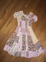 Vintage GRANITE Calico & Lace Dainty Rose Prairie Floral Dress Womens Size 8