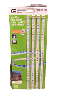 NEW 4pk 12 in. Linkable RGBW Indoor LED Flexible Tape Light Kit With Remote