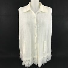Vintage Knit Wrap Cover Up Shawl Collared Button Down Fringe Off White Cream
