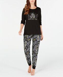 Matching Family PJs Women's Happy New Year Pajama Set - Black, Medium #5821