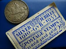 More details for british silver crown coin 1935 and free stamp booklet