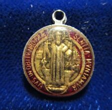 St Benedict Medal Red and Gold Resin Coated Patron of School Children Small Size
