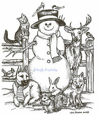 Snowman With Animal Friend Wood Mounted Rubber Stamp Northwoods P9298 Stamp New
