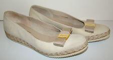 Vintage 1980's SALVATORE FERRAGAMO Ecru VARA Sport Shoes Espadrilles Flats 6B