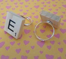 Handmade Scrabble Tile silver plated adjustable ring *choice of letter*