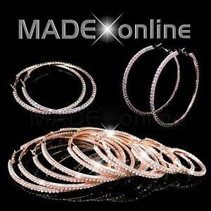 Rose Gold, Diamante Hoop Earrings, Crystal Bling Circles
