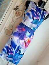 LIPSY VIP SZ 10 SATIN FLORAL & LACE 2 IN 1 KNEE LENGTH SHIFT DRESS.. STUNNING!