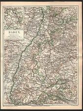 BADEN Freiburg Feldberg Karlsruhe Lörrach Lahr   historische Karte 1879 Map