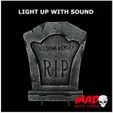 item 1 large light up tombstone sound halloween cemetery graveyard decoration prop