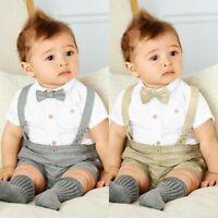 Kids Boy Formal Suit Bowtie Gentleman T-shirt Tops+Bib Pants Overalls Outfit Set