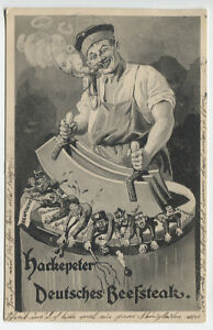 GERMANY 1914: used WWI propaganda (humorous) PPC HACKEPETER DEUTSCHES BEEFSTEAK