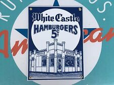 WHITE CASTLE hamburgers 5 CENTS top QUALITY porcelain coated 18 GAUGE steel SIGN