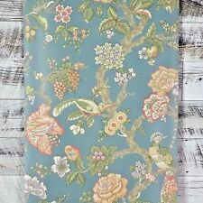 Traditional Bird Floral Blue Green Tan Red Purple Designer Flower Wallpaper Diy
