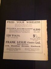 Ephemera 1930 Advert Frank Leslie Chemists Rushey Green Catford Wireless  b1p