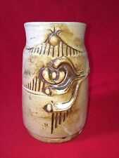Flat Earth Pottery Mug / 5 1/2 inches tall / Signed HAJ / Dated '80