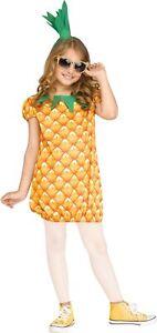 Ananas Mädchen Kostüm Kleid und Kopfschmuck Kinder Frucht Obst Verkleidung