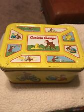 Curious George Tin RARE storage for toys, monkey lid and box (marks on box)