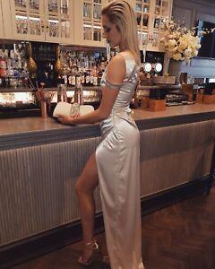 Fash1 Champagne Nude Satin Gown! Maxi Dress Prom Bridesmaid wedding. UK 10, M