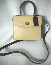 Vintage Coach Madison Collection Ivory & Black Leather Mini Handbag #4413