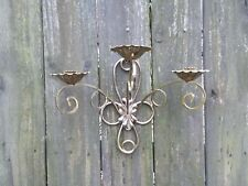 3 Arm Gold-Tone Metal Wall Sconce Candle Holder