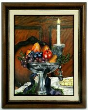 "M. JANE DOYLE SIGNED ORIGINAL ART OIL/CANVAS PAINTING ""CHRISTMAS TREATS"" FRAMED"