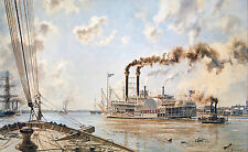 "John Stobart Print - New Orleans: The ""Rob't E. Lee"" Leaving the Crescent City"