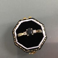 Women's 9ct Gold Vintage Sapphire & Diamond Ring Weight 2.13g Size N Stamped
